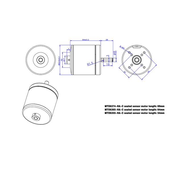 Размеры мотора