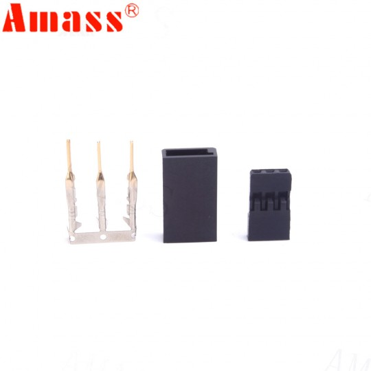 Разъем Amass JR/Futaba 3-контактный комплект вилка, розетка (папа-мама)