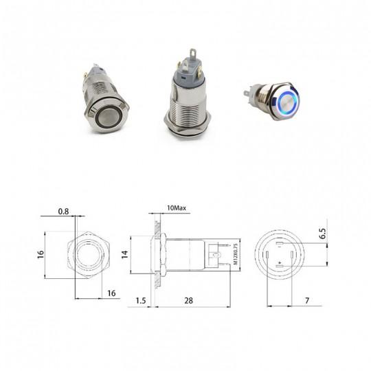 Кнопка 12 мм. с фиксацией 12-24 В.