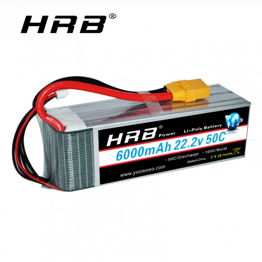 Аккумулятор Li-Po HRB 6000 mAh, 6s, 50c, разъем XT90